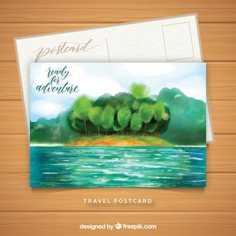 水彩風景のある旅行のはがきテンプレート