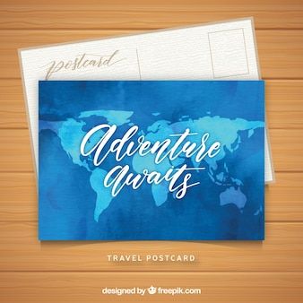 Travel postcard template with watercolor map