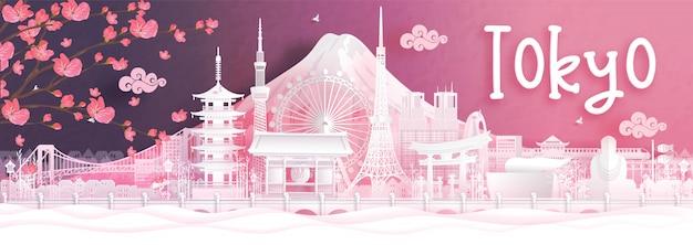 Travel postcard of tokyo in autumn season. japan