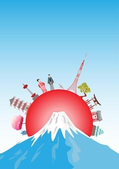 Travel postcard, tour advertising of japan. vector illustration.