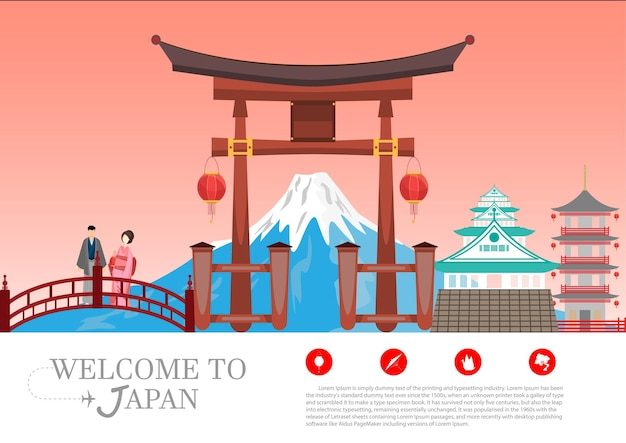 여행 엽서, 일본 여행 광고. 벡터 일러스트 레이 션.