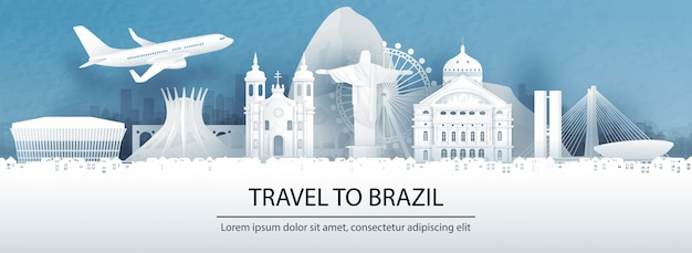 Travel postcard, tour advertising of world famous landmarks of brazil
