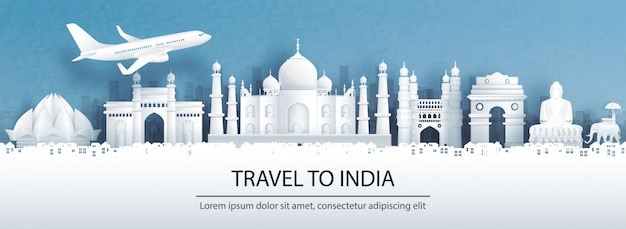 Travel postcard, tour advertising of world famous landmarks of india