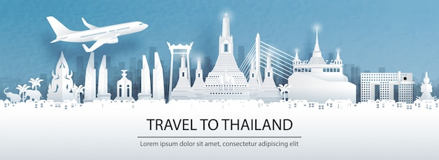 Travel postcard, tour advertising of world famous landmarks of thailand