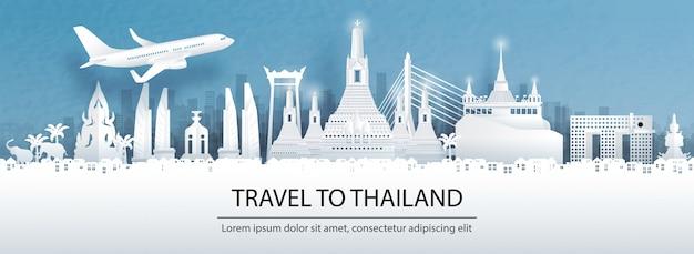 Travel postcard, tour advertising of world famous landmarks of thailand