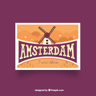Travel postcard with amsterdam in hand drawn style