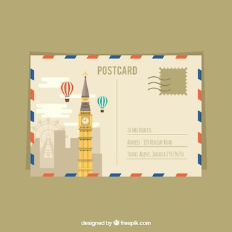 Travel postcard with big ben and balloons
