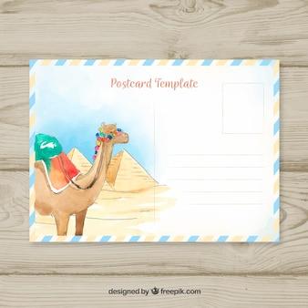 수채화 낙타 여행 엽서