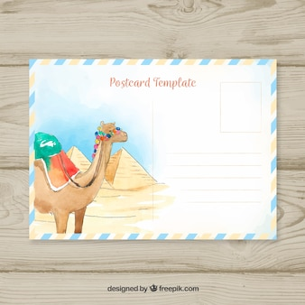 Travel postcard with camel in watercolor