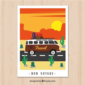 Travel postcard with caravan on the road in flat style