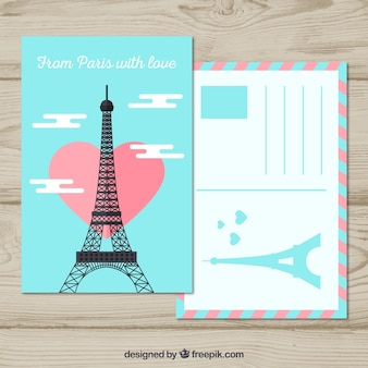 Travel postcard with eiffel tower in flat style