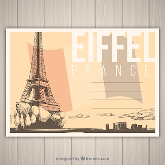 Travel postcard with eiffel tower in hand drawn style