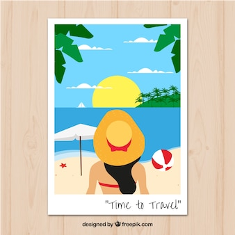 Travel postcard with girl on the beach in flat style