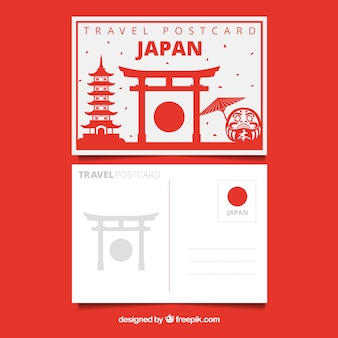 Travel postcard with japanese monument in flat style