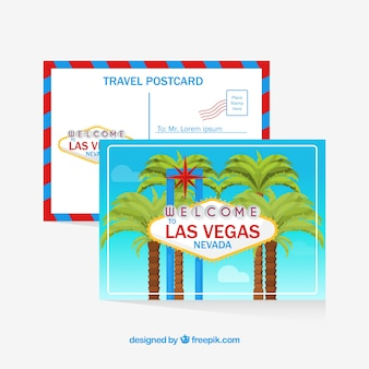 Travel postcard with las vegas sign