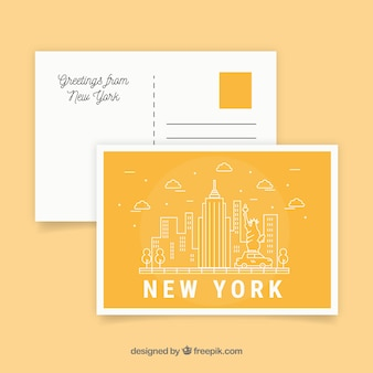 Travel postcard with new york city in monolines