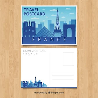 평면 스타일의 파리 도시와 여행 엽서