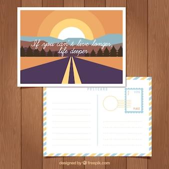 Дорожная открытка с дорогой в винтажном стиле