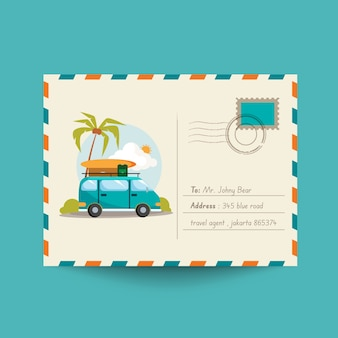Travel postcard with van and beach