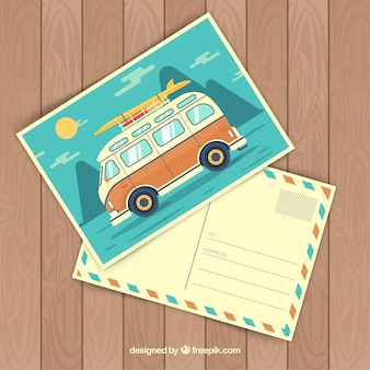 Travel postcard with van traveling