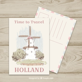 Travel postcard with windmill
