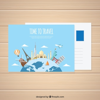 Travel postcard with world and monuments