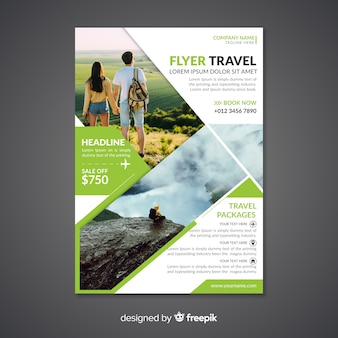 Туристический плакат / флаер шаблон с фотографией