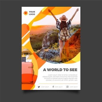 Travel poster style with photo