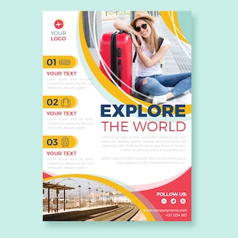Travel poster style with woman photo