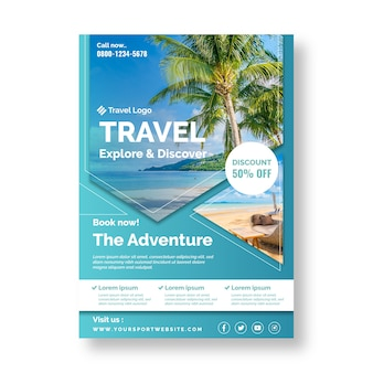 Travel poster template concept