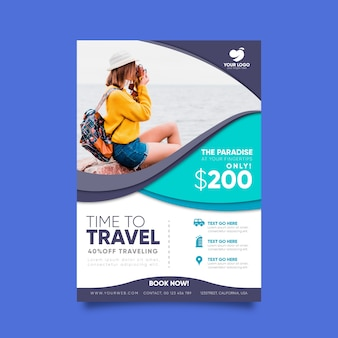 Travel poster template design