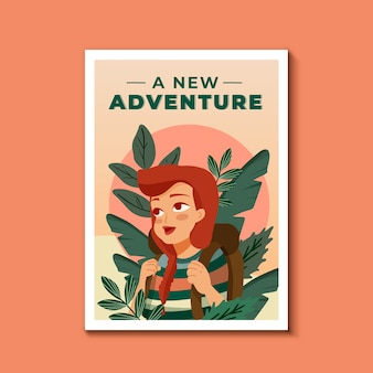 Travel poster template illustrated theme