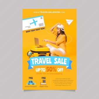 Travel poster template with details and photo