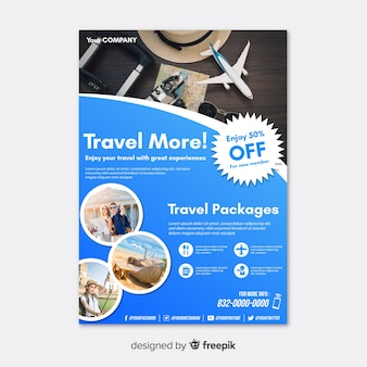 Travel poster template with discount