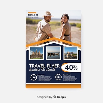 Travel poster template with image