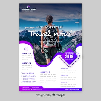 Travel poster template with man looking at the mountains