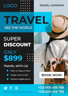 Travel poster template with photo concept