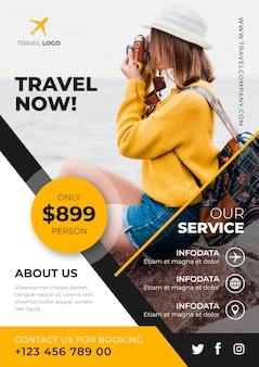 Travel poster template with photo design