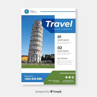 Travel poster template with photo