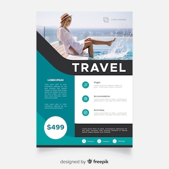 Travel poster template with traveler