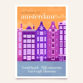 Travel poster with amsterdam