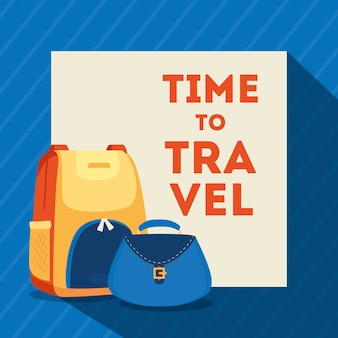 Travel poster with backpack