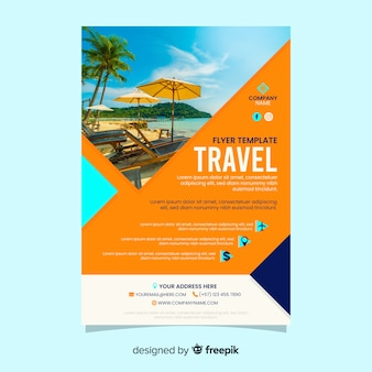 Travel poster with beach photo