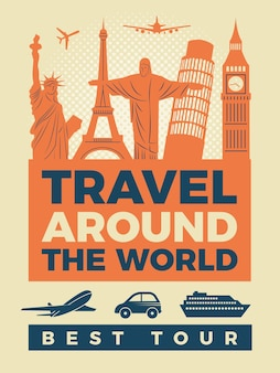 Travel poster with illustrations of famous landmarks.