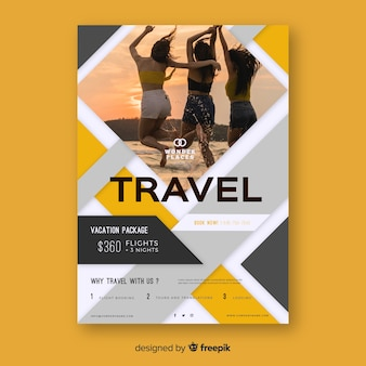Travel poster with image template