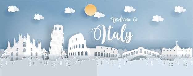 Travel poster with italy famous landmark in paper cut style