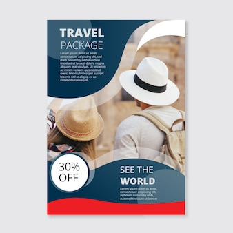 Travel poster with photo template