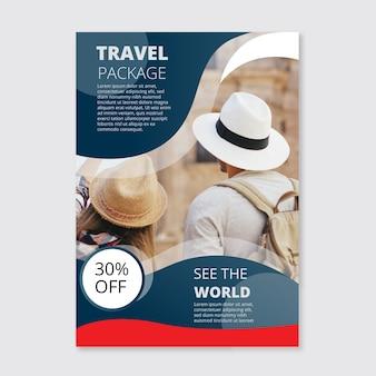 Poster di viaggio con modello di foto