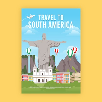 Travel poster with south america