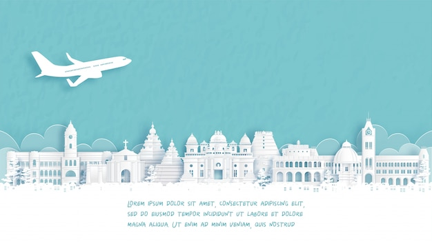 Travel poster with welcome to chennai, india famous landmark in paper cut style illustration.